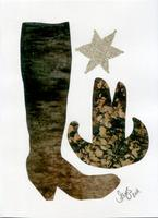 Cowboy boot collage by Alys Scott-Hawkins