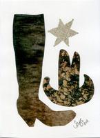 Cowboy boot collage by Alys Scott-Hawkins