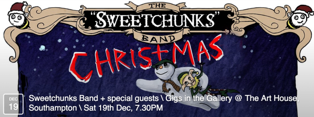 The Sweetchunks Band, shambolic purveyors of miscellaneous drinking accompaniments, play an unusual, yet compelling amalgamation of parodic folk, rock, chap-hop and drinking anthems, fused into a Steampunk horsecarriage of farcical and anecdotal comedy. Not to be missed.