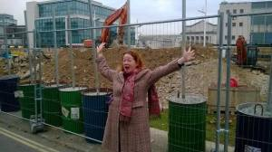 This is me, REALLY excited about a hole in the ground.