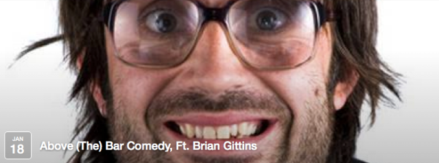 Above the Bar Comedy' is a not-for-profit stand-up comedy night run by volunteers who want one thing; to share their love of comedy. Brian Gittins (AKA David Earl) has been described as 'One of the best comedy characters of the decade' by none other than Ricky Gervais.