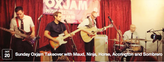Oxjam Takeover, Featuring Maud the Moth, A Ninja Slob Drew Me, The Horse, Accrington Stanley, Sombrero Fallout